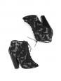 Sandales à talon en dentelle et cuir noir Px boutique 650€ Taille 38