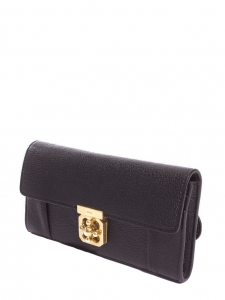 ELSIE Black pebbled leather continental wallet Retail price €380