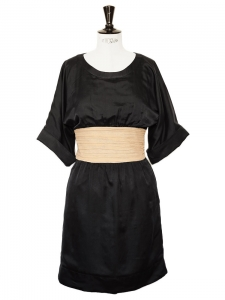 Robe kimono en soie et coton noir et beige Px boutique 1100€ Taille 34