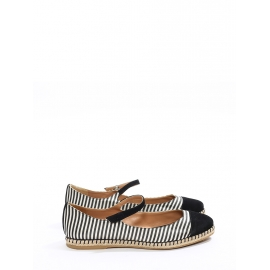SEBILLE Black and white striped silk flat espadrille ballerinas Retail price €450 Size 38