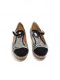 Espadrilles babies SEBILLE en soie rayée noir et blanc et suède noir Px boutique 450€ Taille 38