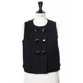 Top sans manches à boutons en lin noir Px boutique 900€ Taille 36/38