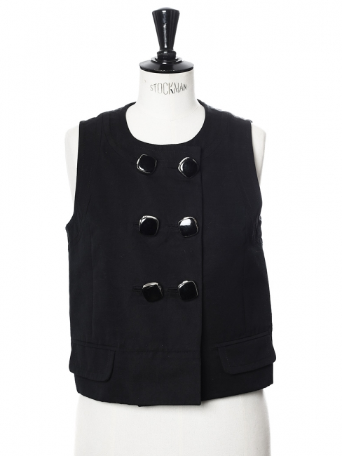 Black linen sleeveless buttoned top Retail price €900 Size 36/38