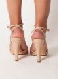 Sandales à talon et bride cheville en cuir nude PX boutique 500€ Taille 38