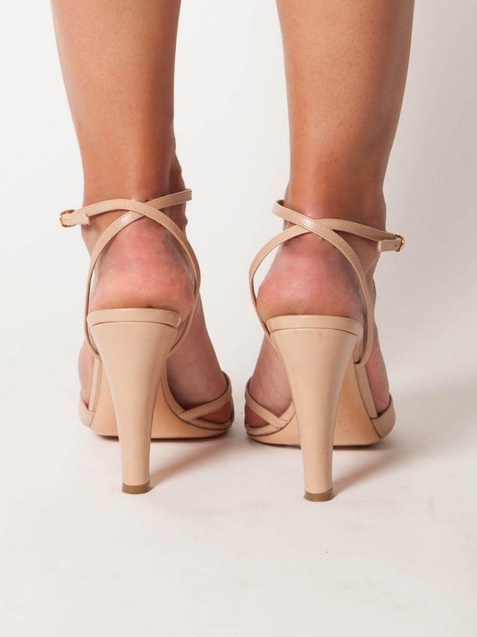 louise paris chloe sandales talon et bride cheville en cuir nude px boutique 500 taille 38. Black Bedroom Furniture Sets. Home Design Ideas