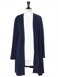 Veste longue en crêpe de soie bleu nuit Px boutique 1100€ Taille 36