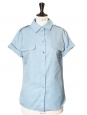 Sky blue cotton-twill short sleeved shirt Retail price €450 Size 36/38