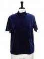 Top t-shirt manches courtes col cheminée en velours bleu nuit Taille 36