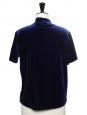 Top t-shirt manches courtes col cheminée en velours bleu nuit Taille 36