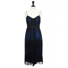 Robe de cocktail à fines bretelles en mousseline de soie bleu nuit et noire Px boutique 3000€ Taille 36/38