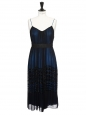 Navy blue and black silk chiffon bead-embellished cocktail dress Retail price €3000 Size 36/38