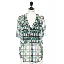 Periwinkle and green light silk chiffon shirt Retail price €1200 Size 34/36