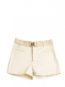 Beige cream silky cotton shorts with gold buckle separable elasticated belt Retail price €550 Size 38