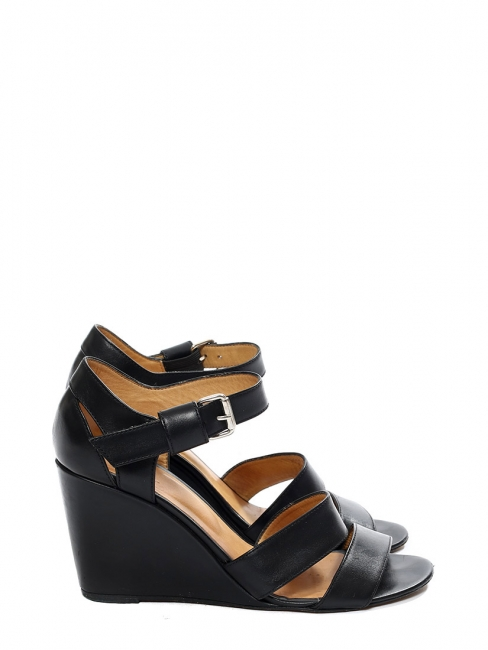 Black leather ankle strap wedge heel sandals Retail price €310 Size 39
