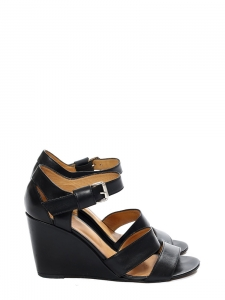 19505c8d7fee A.P.C. · Black leather ankle strap wedge heel sandals Retail price €310 Size  39