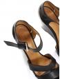 Sandales compensées à bride cheville en cuir noir Px boutique 310€ Taille 39