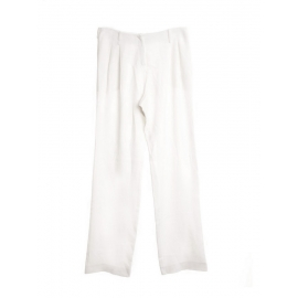 Ivory white crepe straight pants Retail price €850 Size 38