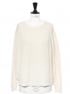 Pull col rond en maille de laine et cachemire blanc écru Px boutique 400€ Taille 36