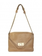 Sally light tan brown grained leather shoulder bag and gold chain Retail price €1710