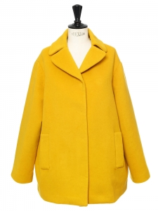 Warm golden yellow wool and cashmere coat Retail price €700 Size 38
