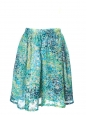 Gold blue yellow and green printed silk skirt Size 36/38