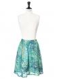 Jupe taille élastique en soie lamée bleu, vert, jaune et doré Taille 36