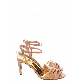 Pink beige suede leather embellished with golden studs heeled sandas NEW Retail price €550 Size 38.5