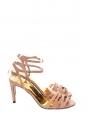 Sandales à talon en suède beige rosé et studs dorés NEUVES Px boutique 550€ Taille 38,5