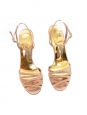Sandales à talon en suède beige rosé et studs dorés Px boutique 550€ Taille