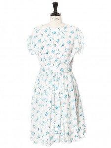 Blue green floral printed white cotton crepe short sleeves round neck dress Size 36