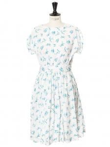 Robe manches courtes col rond en crépon de coton blanc imprimé fleuri bleu vert Taille 36