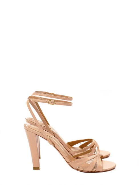 Nude beige pink leather ankle strap heel sandals Retail price €500 Size 38