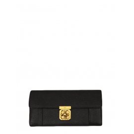 ELSIE Black pebbled leather continental wallet Retail price €380