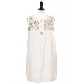 Beige silk and cotton cocktail babydoll dress with Swarovski crystals Retail price €2000 Size 36