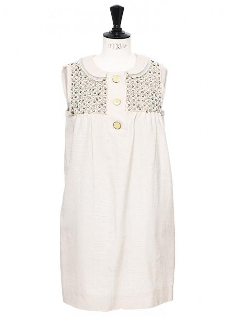 Robe de cocktail Couture en coton et soie beige brodée de cristaux Swarovski Px boutique 2000€ Taille 36