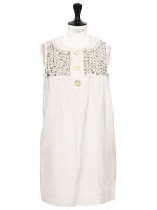Beige silk and cotton cocktail babydoll dress with Swarovski crystals Retail price €2000 Size 36