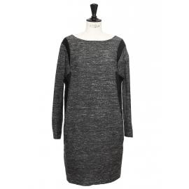 Robe en soie et laine gris chiné et noir Px boutique 1600€ Taille 36/38