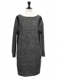 Heather grey and black silk and wool long sleeves dress Retail price €1600 Size 36/38