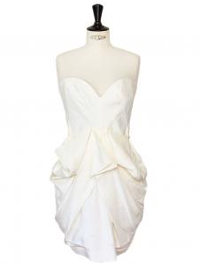 Robe de cocktail bustier drapée en soie blanche Px boutique 1435€ Taille 34