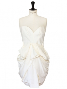 White draped silk strapless dress Retail price €1435 Size 34