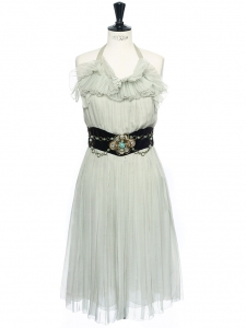 Pale jade green pleated silk chiffon open back cocktail dress with embellished velvet belt Retail price €3500 Size 34