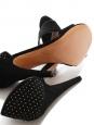 Sandales bout ouvert à talon fin en velours noir et studs NEUVES Px boutique 450€ Taille 40