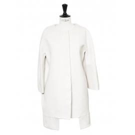Veste manteau manches raglan en sergé de coton blanc écru Px boutique 1100€ Taille 34/36