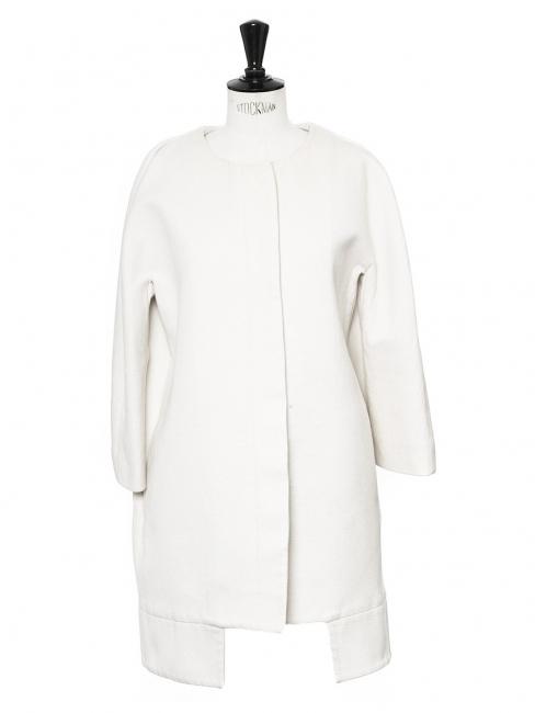 Cream white cotton twill raglan sleeves coat jacket Retail price €1100 Size 34/36