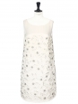 White/ecru pleated silk dress embroidered with Swarovski crystals Retail price €6000 Size 36