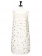 White/ecru pleated silk dress embroidered with Swarovski crystals Retail price €6000 Size 36