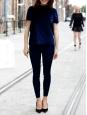 Midnight blue velvet short sleeves turtleneck T-shirt Size 36