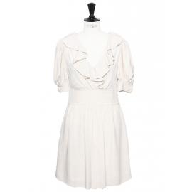 Robe décolletée manches courtes en crêpe de soie blanc ivoire Px boutique 1200€ Taille 36