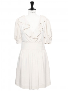 Ivory white silk crepe short sleeves ruffled décolleté dress Retail price €1200 Size