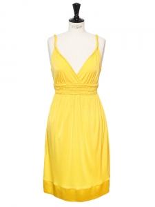 Robe de cocktail style grec décolleté V profond en jersey jaune mimosa Px boutique 320€ Taille 38